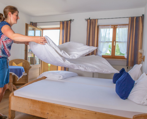 Frisch bezogene Betten